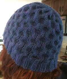 Free Knitting Pattern for Honeycomb Cable Hat