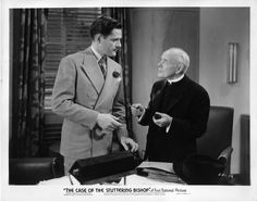 Donald Woods as Perry Mason, Edward McWade as Bishop William Mallory in The Case of the Stuttering Bishop (1937). From the Jim Davidson Collection.