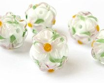 Lampwork Beads, Handmade Glass Beads, Lampwork Bead Set, Murano Beads, Lampwork  Beads, Floral Glass Beads, Green, White Flowers