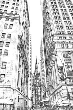Lower Manhattan NYC Sketch 8x10 Drawing New York by ddfoto, $40.00