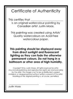 Certificate of authenticity of a fine art print for Free printable certificate of authenticity templates