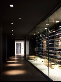 I like the idea to use storage rooms such as this modern winecellar for a restaurant as part of the design like in this example by judith van mourik the netherlands