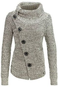 High Neck Asymmetrical Cardigan Chic Turtleneck Long Sleeve Button Design Knitted Women's Jacket Jackets For Women, Sweaters For Women, Clothes For Women, Cheap Jackets, Knitted Jackets Women, Cheap Clothes, Long Sleeve Turtleneck, Turtleneck Top, Knit Jacket