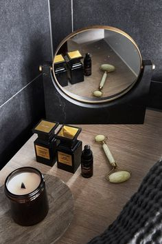 The mirror from Menu perfectly compliments the dark tones in the bathroom. Bathroom Accessories, Home Accessories, Bathroom Toilets, Washroom, Perfume, Bath Design, Body Inspiration, Bath And Body, Interior Decorating