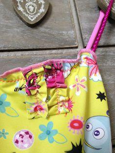 Girl Swimwear 1-2-3, One Piece Kids, Toddler Beachwear, Bathing Suit with Braids, Print Neon