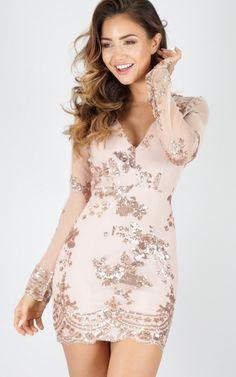 Gold Sequin Long Sleeve Mini Dress
