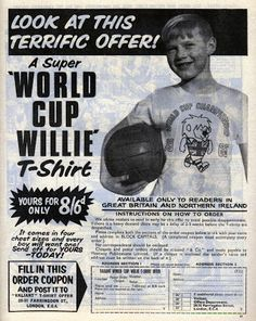 World Cup Willie was the original football mascot. 1966 World Cup Final, England Players, World Cup Match, The Valiant, Things To Think About, Things To Sell, International Football, Story Of The World, Northern Ireland