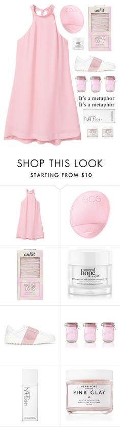 """""""Pink for Breast Cancer Awareness"""" by amazing-abby ❤ liked on Polyvore featuring MANGO, Topshop, Ankit, philosophy, Valentino, Kilner, NARS Cosmetics and Herbivore"""