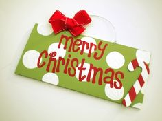 Merry Christmas Candy Cane Polka Dot Sign - christmas decorations - cute painted polka dot signs