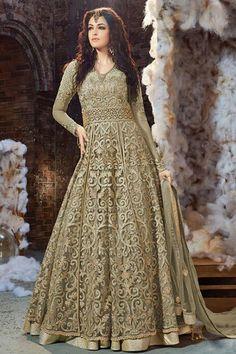 Mehendi Green Color Net Fabric Indian Bride Wedding Wear Traditional Embroidery with Diamond Work Occasionally Anarkali #zoyacollection #anarkali #floorlength #zariwork #embroidered #beauty #salwarkameez #bridalwear #indianbride #gown #net #fabric #partwear #weddingcollection #indianwear #fashion #style #germany #london #bangkok #usa #festivalseason