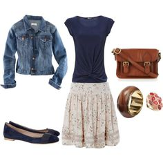 I love the jean jackets and navy blouse with this off-white eyelet skirt. A great combo!