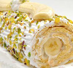 Banana Pistachio Roulade Cake Recipe from Mamma's Recipes