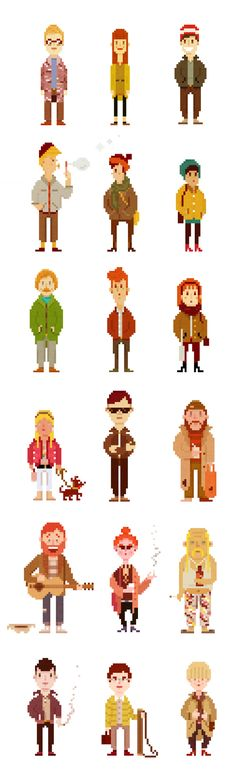 Pixel Based Characters. Could be incorporated into my animation and combine them with the pixel bands. - design concepts for full bodied avatars