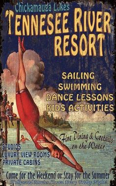 Vintage Water Resort Art Sign with Diving Girl Tennessee River Beach House Signs, Beach Signs, Beach House Decor, Lake Signs, Antique Signs, Vintage Signs, Vintage Posters, Metal Signs, Wooden Signs