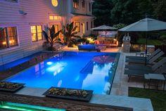 Blue Swimming Pool, Custom Swimming Pool  Swimming Pool  Cipriano Landscape Design  Mahwah, NJ