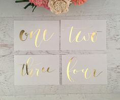 Gold Table Numbers Table Markers Wedding Table by GildedPaperCo