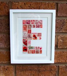 Postage stamp monograms (no tutorial but pretty obvious). Gift idea for my Grandmother to do with my grandfathers stamp collection. Postage Stamp Art, Idee Diy, Do It Yourself Crafts, Letters And Numbers, Framed Letters, Home And Deco, Mail Art, Stamp Collecting, Diy Gifts