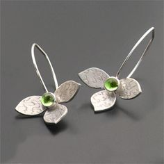 Image of Sterling Lotus Earring with stone