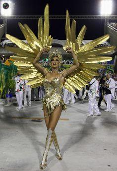 Drum queen Ana Furtado of the Grande Rio samba school dances on the second night of the annual Carnival parade in Rio de Janeiro's Sambadrome. NACHO DOCE/REUTERS