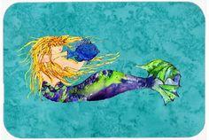Blonde Mermaid on Teal Kitchen or Bath Mat 20x30 8724CMT