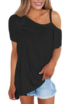 Lunir Woman Casual T-Shirt Solid Color Off Shoulder Design Short Sleeve Top Knits /& Tees