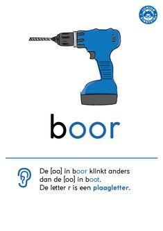 De -oo- klinkt in het woord boor anders dan in het woord boot. Dat komt door de letter -r-. Deze laat de -oo- anders klinken! Dat noemen we ook wel de plaagletter -r-. Op deze kaart staat de spellingregel voor klankwoorden die eindigen op -oor. Kijk voor meer van dit soort kaarten op www.taal-oefenen.nl
