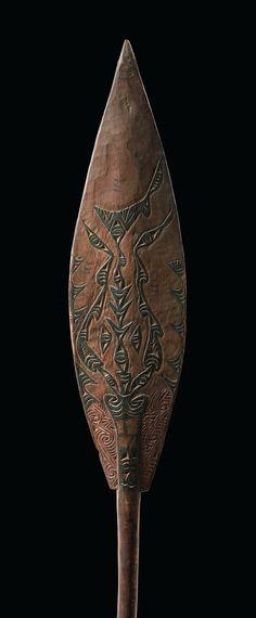 Ceremonial paddle, Papua New Guinea, Sundown Province (former West-Sepik), Arop, Malol | wood, brown patina, black paint | Read more: http://www.tribal-art-auktion.de/en/all/search_New+Guinea/d10_11/#ixzz3FbTDAdd2