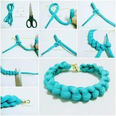 Un bracelet tressé avec des lacets de chaussure.