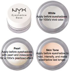 The differences of nyx eyeshadow base. White pearl and skin tone