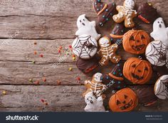 Funny Delicious Ginger Biscuits For Halloween On The Table. Horizontal View From…