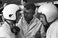 Carroll Shelby speaking to New Zealanders Chris Amon and Bruce McLaren at the 24 Hours of Le Mans, Le Mans, 19 June Carroll Shelby managed the victorious Ford Mk II of Bruce McLaren and Chris Amon. Amon, Sports Car Racing, Race Cars, Le Mans, Ken Miles, Firestone Tires, Bruce Mclaren, Course Automobile, Shelby Car