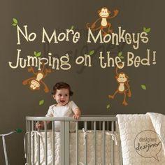 Cute Wall Monkey Nursery Room Jungle Theme
