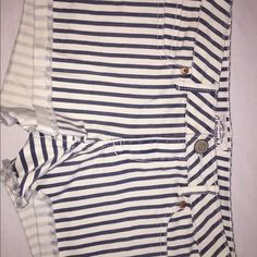 shorts white and blue stripes stretch Aeropostale Shorts Jean Shorts