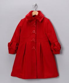 Take a look at this Red Lantern-Sleeve Coat - Girls by Angels New York on #zulily today!