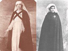 La Reina Victoria Eugenia con traje de la Cruz Roja. Enfermera con capa