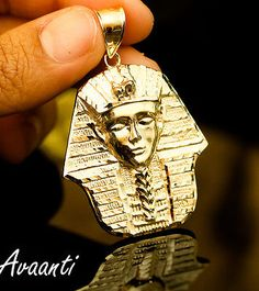 Vintage men owl necklace 18k gold plated stainless steel chain men egyptian pharaoh king tut real 10k solid gold pendant charm piece 68 grams aloadofball