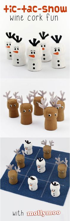 Tic-Tac-Snow DIY Wine Cork Game of Tic-Tac-Toe - a super cute twist to an ever enduring classic Christmas Activities, Christmas Projects, Kids Christmas, Holiday Crafts, Wine Craft, Wine Cork Crafts, Bottle Crafts, Kids Crafts, Craft Projects