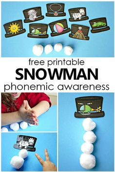 Free Printable Build a Snowman Phonemic Awareness Activity-Syllable and Phoneme segmentation activity for preschool and kindergarten - Kids education and learning acts Syllables Kindergarten, Phonics Activities, Free Preschool, Preschool Themes, Kindergarten Activities, Preschool Crafts, Phonological Awareness Activities, Phonemic Awareness Kindergarten, Winter Activities For Kids