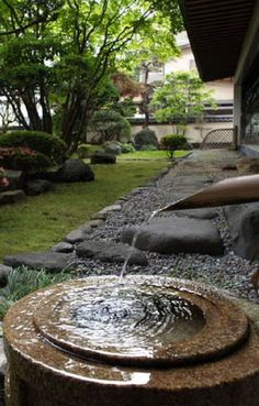 Japanese inspired water basins and water features are ideal for a meditation garden. Japanese Water Feature, Japanese Water Gardens, Japanese Garden Design, Garden Pool, Shade Garden, Meditation Garden, Meditation Rooms, Container Water Gardens, Backyard Water Feature