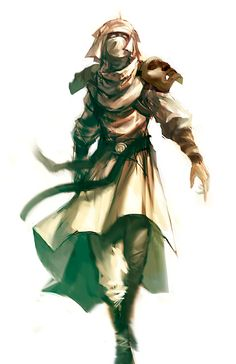 Barren Brassen Wild Elf from Ihkten. They wear white and cover their faces to protect themselves from the elements. They also paint their skin the color of the rocks to blend in.