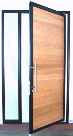 Aluminum Pivot Door with Wood insert Modern Entry Door, Front Door Entryway, Wooden Front Doors, Grill Door Design, House Gate Design, Front Door Design, House Doors, House Entrance, Entrance Doors