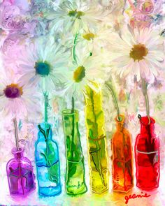 Sharon's Rainbow - acrylic & digital painting by ©Jeanie Campbell of ArtByJeaniecom