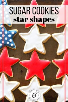 Let's celebrate the red, white and blue! A simple layout creates a flag with these stars and stripes cookies. Make these red, white, and blue star cookies for patriotic holidays, celebrations, or change the colors and make these star cookies for Christmas. #abakershouse #decoratedcookies #sugarcookies #patriotic #4thofJuly #AmericanFlag Vegan Christmas Cookies, Best Christmas Cookie Recipe, Holiday Cookies, Christmas Desserts, Christmas Baking, Blue Cookies, Star Cookies, Cookie Decorating, Decorating Tips