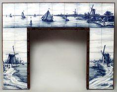 Continental Dutch fireplace accessory mantel porcelain