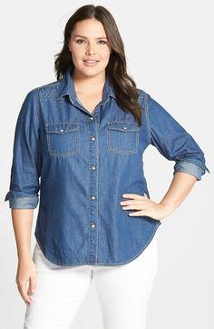 Plus Size Studded Shoulder Cotton Denim Shirt