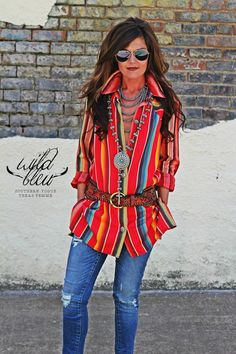 - PRE-SALE (Fall Delivery) - Red Serape Fabric - Concho Buttons - Straight Hem - Side Slits - Model is 5'5, size 0 and wearing the Medium (she needed XS)