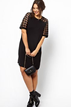 Buy ASOS CURVE Shift Dress With Cage Sleeve at ASOS. With free delivery and return options (Ts&Cs apply), online shopping has never been so easy. Get the latest trends with ASOS now. Asos Curve, Funny Fashion, Girl Fashion, Plus Size Dresses, Nice Dresses, Perfect Little Black Dress, Zara, Couture, Models