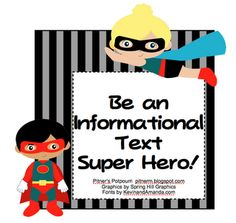 Pitner's Potpourri: Be an Informational Text Super Hero! -- Freebie--great resources for an informational text scavenger hunt Library Lessons, Reading Lessons, Reading Skills, Teaching Reading, Teaching Ideas, Library Skills, Teaching Strategies, Library Ideas, Reading Activities