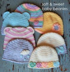 4e429beecfa Soft & Sweet Baby Beanies – sara's yarn studio Gratis Mønster, Gratis  Hækling, Ipad
