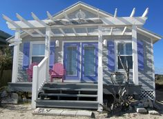 Island Living: Ferandina Beach Oceanfront Cottage For Sale . Tiny Beach House, Beach Cottage Style, Coastal Cottage, Coastal Homes, Beach Houses, Beach Cottages For Sale, Cottages For You, Tiny Little Houses, Beach Cottage Exterior